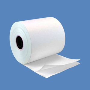 "3"" X 100' 2-Ply Carbonless Paper Rolls - White/White (50 Rolls) - C300-100-W"
