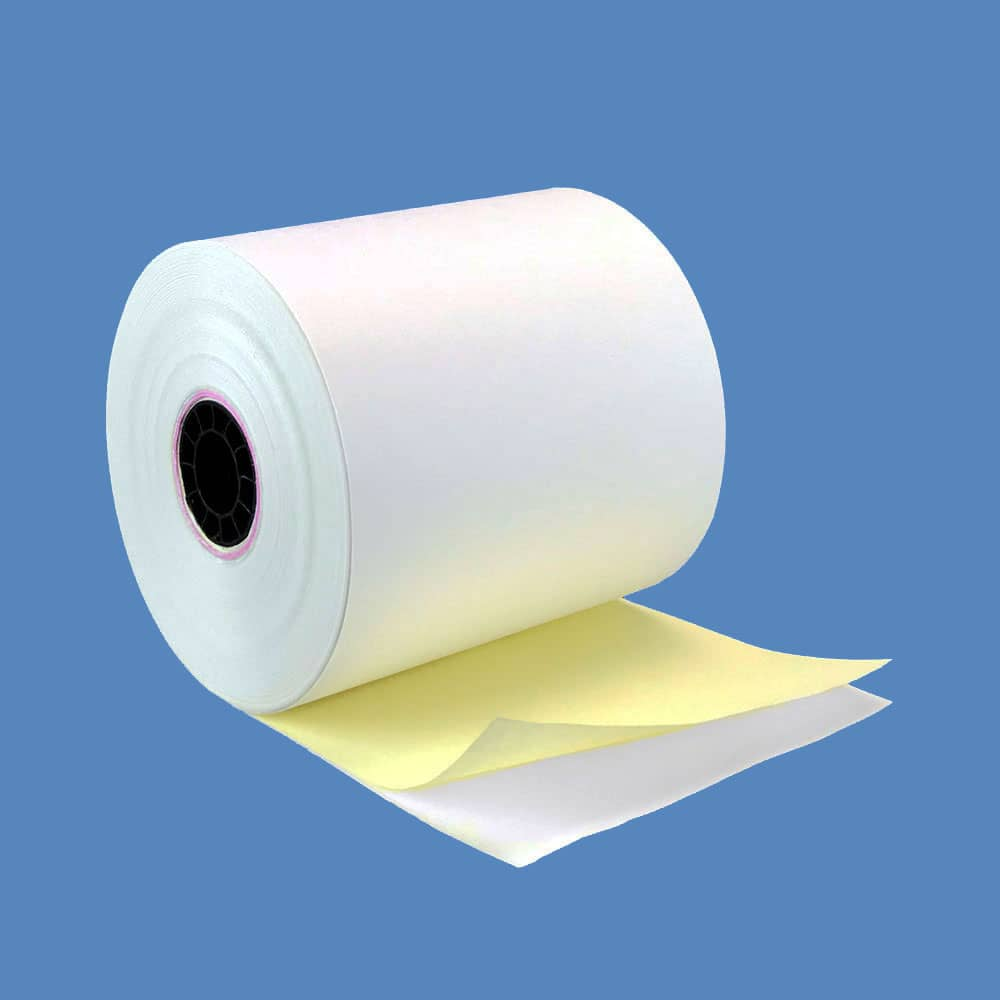 "3"" x 100' 2-ply Carbonless Paper Rolls - White/Canary (50 Rolls)"