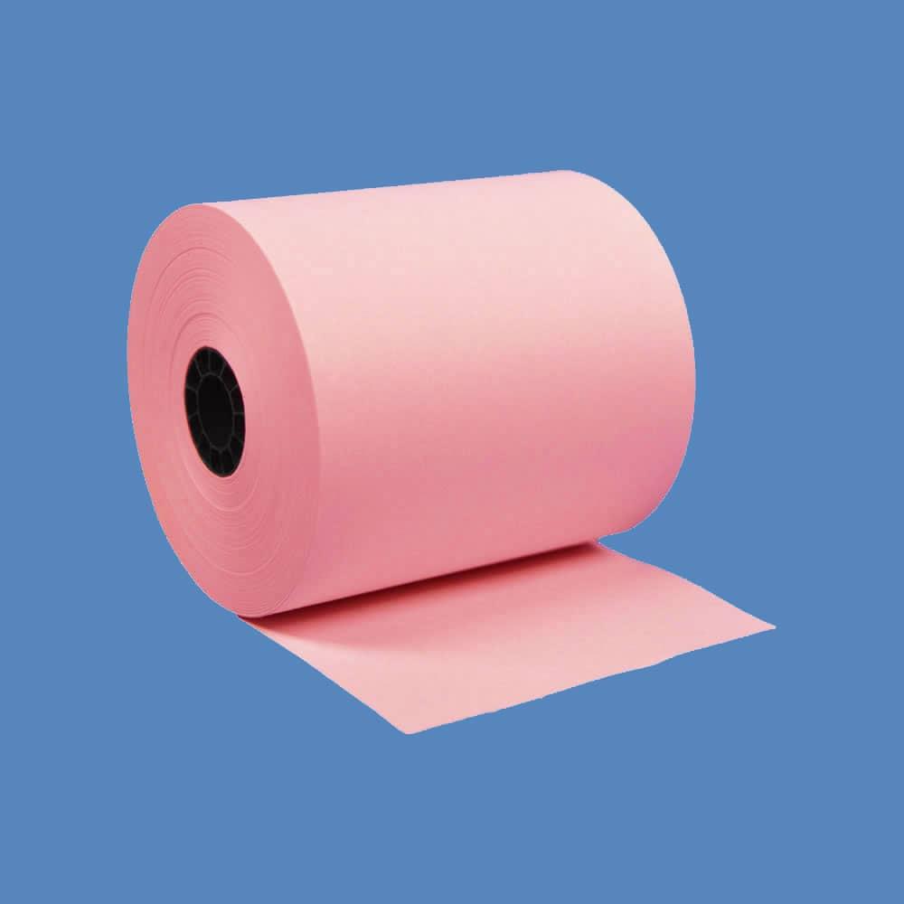 "3"" x 150' Pink 1-Ply Bond Paper Rolls (50 Rolls)"