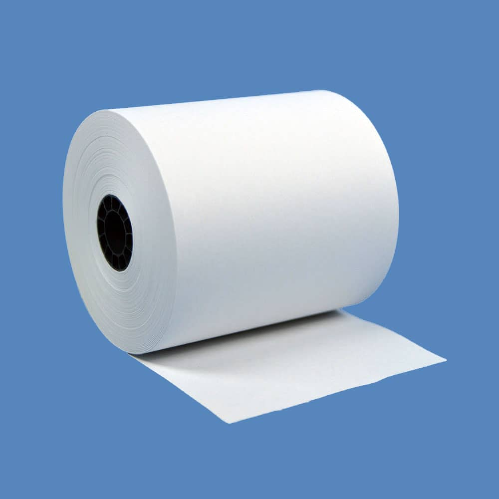 """3"""" x 150' Recycled White 1-Ply Bond Paper Rolls (50 Rolls)"""