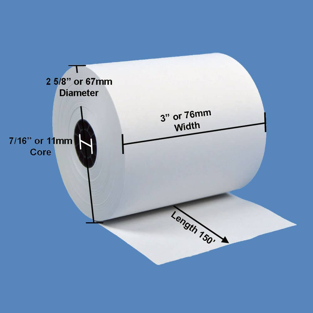 "3"" x 150' White 1-Ply Bond Receipt Paper Rolls (50 Rolls)"