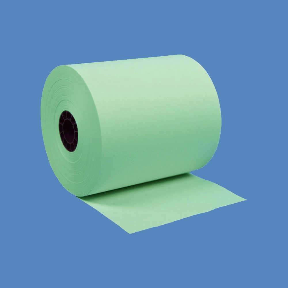 """3"""" x 165' Green 1-Ply Bond Paper Rolls (50 Rolls)"""