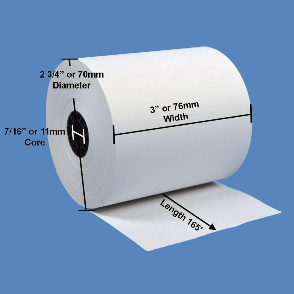 "3"" x 165' White 1-Ply Bond Paper Rolls (50 Rolls)"