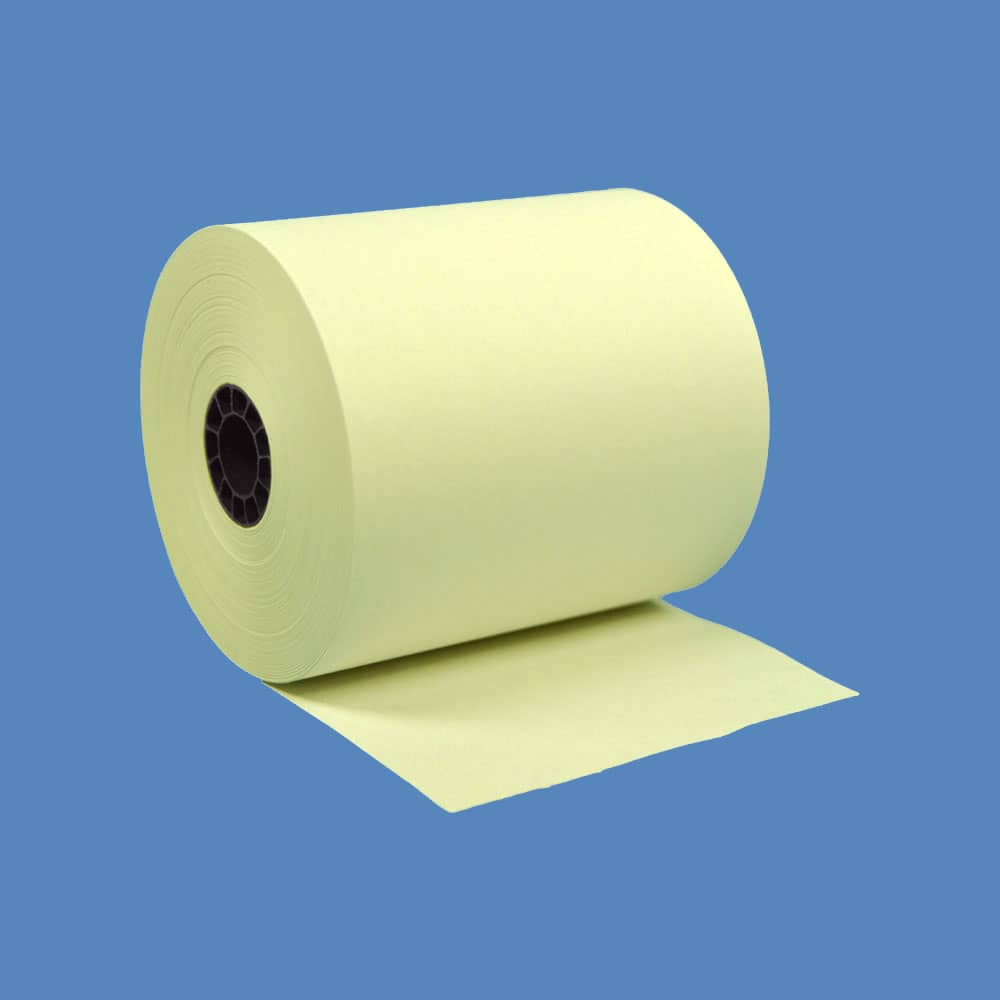 "3"" x 165' Yellow 1-Ply Bond Paper Rolls (50 Rolls)"