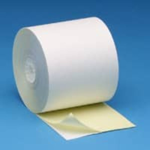 "3"" x 95' Self Contained/Ribbonless 2-ply, White/Canary Roll Paper, 50 rolls/case - S300-095"
