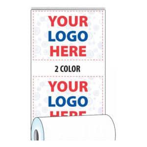 "3 1/8"" x 165' Custom Printed Heavyweight Thermal Paper - 50 Rolls/Case, 5 Case Min (2-Colors) - ZP-T318-165-HW-2C"