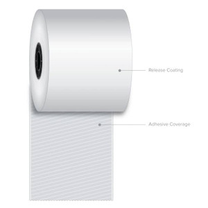 "3 1/8"" x 270' Iconex Full-Tack Sticky Media Linerless Labels (12 Rolls) - ICON-9023-2240"