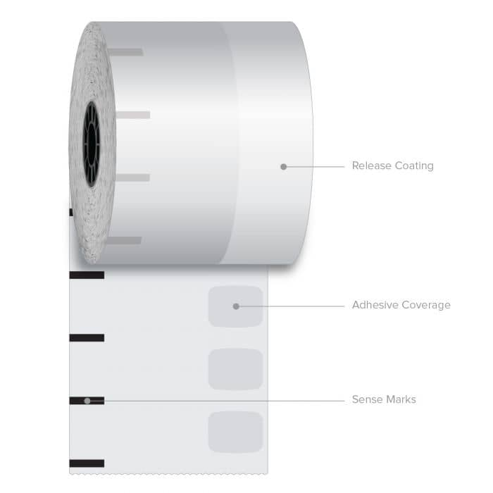 "3 1/8"" x 270' Iconex Standard Sticky Media Linerless Label Starter Kit (6 Rolls)"