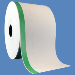 "3 1/8"" x 510' Ticket Kiosk Thermal Paper, Perforated, Green Stripe (12 Rolls) - T318-510-HWP-GS"
