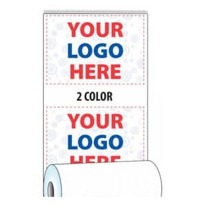 """3 1/8"""" x 815' Custom Printed Thermal ATM Roll Paper - 8 Rolls/Case, 10 Case Min (2-Colors) - ZP-A318-815-2C"""