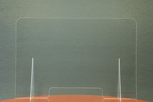 "36"" x 24"" Medium Single Panel Clear Acrylic Countertop Shield with Transaction Slot - AC-SHIELD-9012"