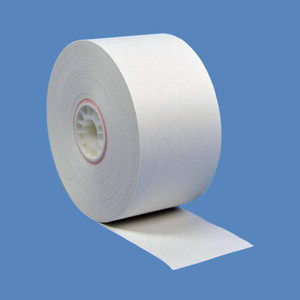 "38mm (1 1/2"") x 150' BRIGHT White 1-Ply Bond Paper Rolls (100 Rolls) - B112-150-BW"
