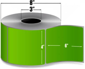 "4.00"" x 6.00"" Dark Green Thermal Transfer Label, 1,000 labels/roll, Perforated Liner, 4 rolls/case - L-RTT8-400600-3P F/Green"