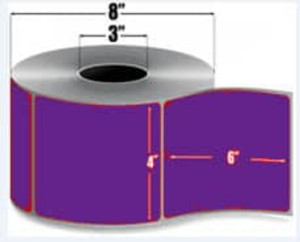"4.00"" x 6.00"" Purple Thermal Transfer Label, 1,000 labels/roll, Perforated Liner, 4 rolls/case - L-RTT8-400600-3P F/Purple"