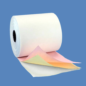 "4 1/2"" x 64' 3-ply Carbonless Paper Rolls - White/Canary/Pink (40 Rolls) - C412-060-WCP"