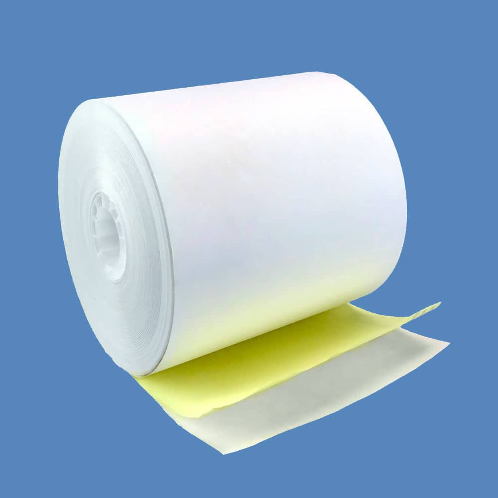 "4 1/2"" x 85' 2-ply Carbonless Paper Rolls - White/Canary (25 Rolls)"