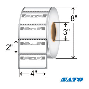 """4"""" x 2"""" RFID Thermal Transfer Labels with Alien Squiggle Inlay for Sato CL4NX (4 Rolls) - L-RFID-4-2-ALN9840-2500-3-S"""