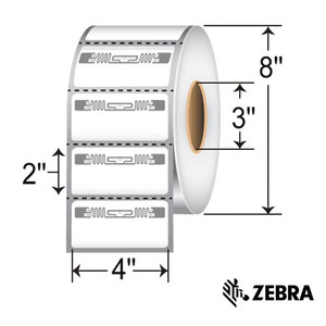"""4"""" x 2"""" RFID Thermal Transfer Labels with Alien Squiggle Inlay for Zebra (4 Rolls) - L-RFID-4-2-ALN9840-2500-3-Z"""