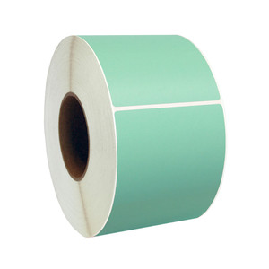 """4"""" x 3"""" Green Direct Thermal Labels, 1"""" Core, 500 Labels/Roll (12 Rolls) - L-RDT4-400300-1P FC/G"""