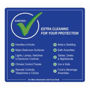 "4"" x 4"" Hotel Room Sanitization Checklist Seal, 500 Labels (4 Rolls) - L-TPC400400"
