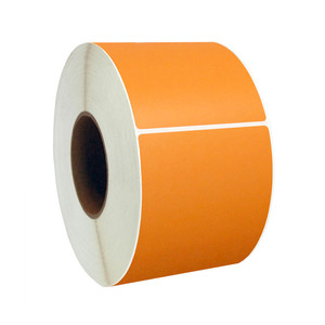 "4"" x 4"" Orange Direct Thermal Labels, 1"" Core, 380 Labels/Roll (12 Rolls) - L-RDT4-400400-1P FC/O"
