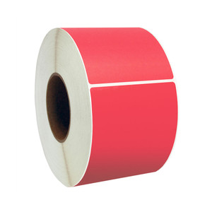 """4"""" x 4"""" Red Direct Thermal Labels, 1"""" Core, 380 Labels/Roll (12 Rolls) - L-RDT4-400400-1P FC/R"""
