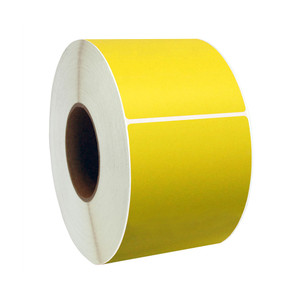 """4"""" x 4"""" Yellow Direct Thermal Labels, 1"""" Core, 380 Labels/Roll (12 Rolls) - L-RDT4-400400-1P FC/Y"""