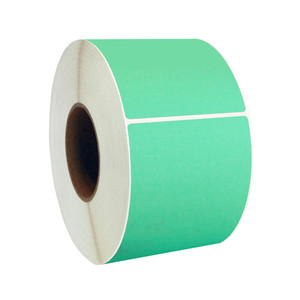"4"" x 8"" Green Thermal Transfer Labels, 3"" Core, 750 Labels/Roll (4 Rolls) - L-RTT8-400800-3P FC/G"