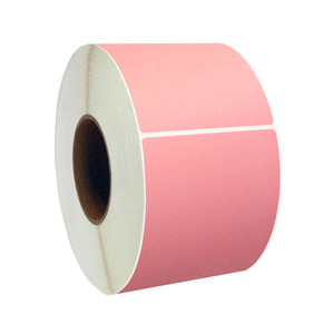 "4"" x 8"" Pink Thermal Transfer Labels, 3"" Core, 750 Labels/Roll (4 Rolls) - L-RTT8-400800-3P FC/P"