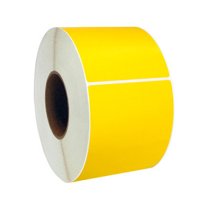 "4"" x 8"" Yellow Thermal Transfer Labels, 3"" Core, 750 Labels/Roll (4 Rolls) - L-RTT8-400800-3P FC/Y"