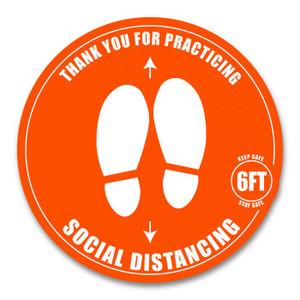 """6"""" Orange Social Distancing Floor Decal (16 Decals) - AC-6-FLOORDECAL"""