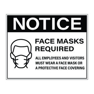 "8"" x 10"" Face Mask Required Sign, Black Vinyl (25 Labels) - L-8X10-FACEMASK-BLK"