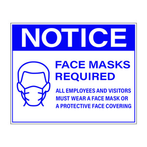 "8"" x 10"" Face Mask Required Sign, Blue Vinyl (25 Labels) - L-8X10-FACEMASK-BLUE"