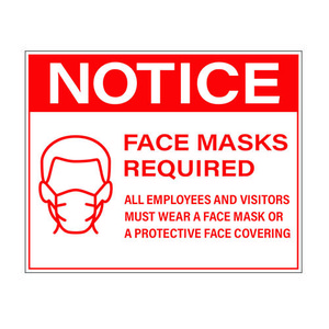 "8"" x 10"" Face Mask Required Sign, Red Vinyl (25 Labels) - L-8X10-FACEMASK-RED"