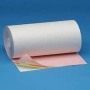 "8 7/16"" x 130' 3-Ply Carbonless Teleprinter Paper Rolls - White/Canary/Pink (12 Rolls) - C8716-130"