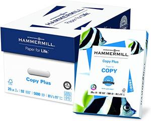 "8 1/2'' X 11"", Hammermill, Copy Plus brand Copy Paper, 20#, 92 brightness, 5000/CS - CP-P26-11045A"