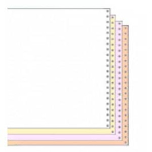 "9 1/2"" x 11"" 15# Blank Regular Perforation 4-Part Carbonless Continuous Computer Paper, 900 sheet - CP-91194"