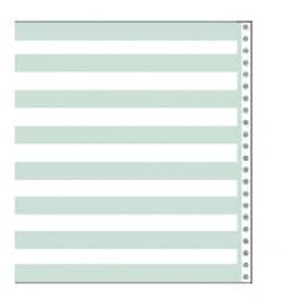 "9 1/2"" x 11"" 20# 1/2"" Green Bar Regular Perforation Continuous Computer Paper, 2700 sheets - CP-8225"