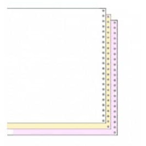 "9-1/2"" x 5-1/2"" Premium, Carbonless 3-Ply White/Canary/Pink Continuous Computer Paper with Left & R - CP-81203"