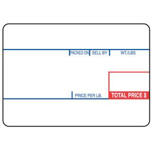 "Cas LP-1000 2.25"" x 1.57"" Red Blue UPC Deli Scale Labels (12 Rolls) - SL-1493"