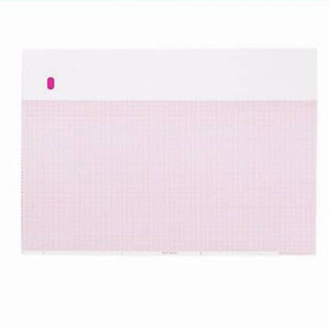 "GE Compatible E9001E Medical Cardiology Recording Chart Paper, Red Grid, Z-Fold, 8.44"" x 11"" - MP-E9001E"