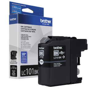 Brother LC101BK Black Ink Cartridge, 300 Page Yield - IJ-LC101BK