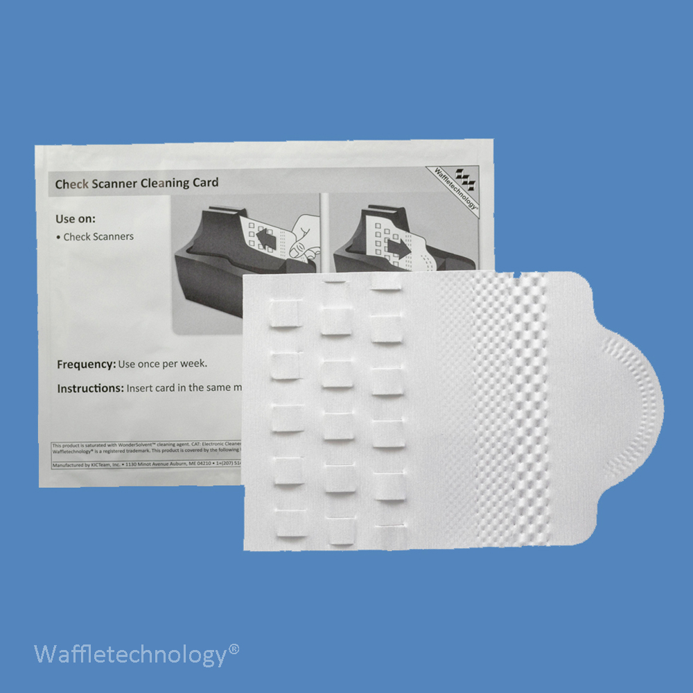 Check Scanner Cleaning Card with Waffletechnology and Wonder Solvent KW3-CSB15WS (15 Cards)