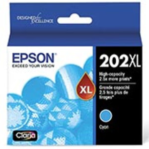 Epson 202 High-Yield Cyan Ink Cartridge, 470 pages - IJ-T202XL220S-C