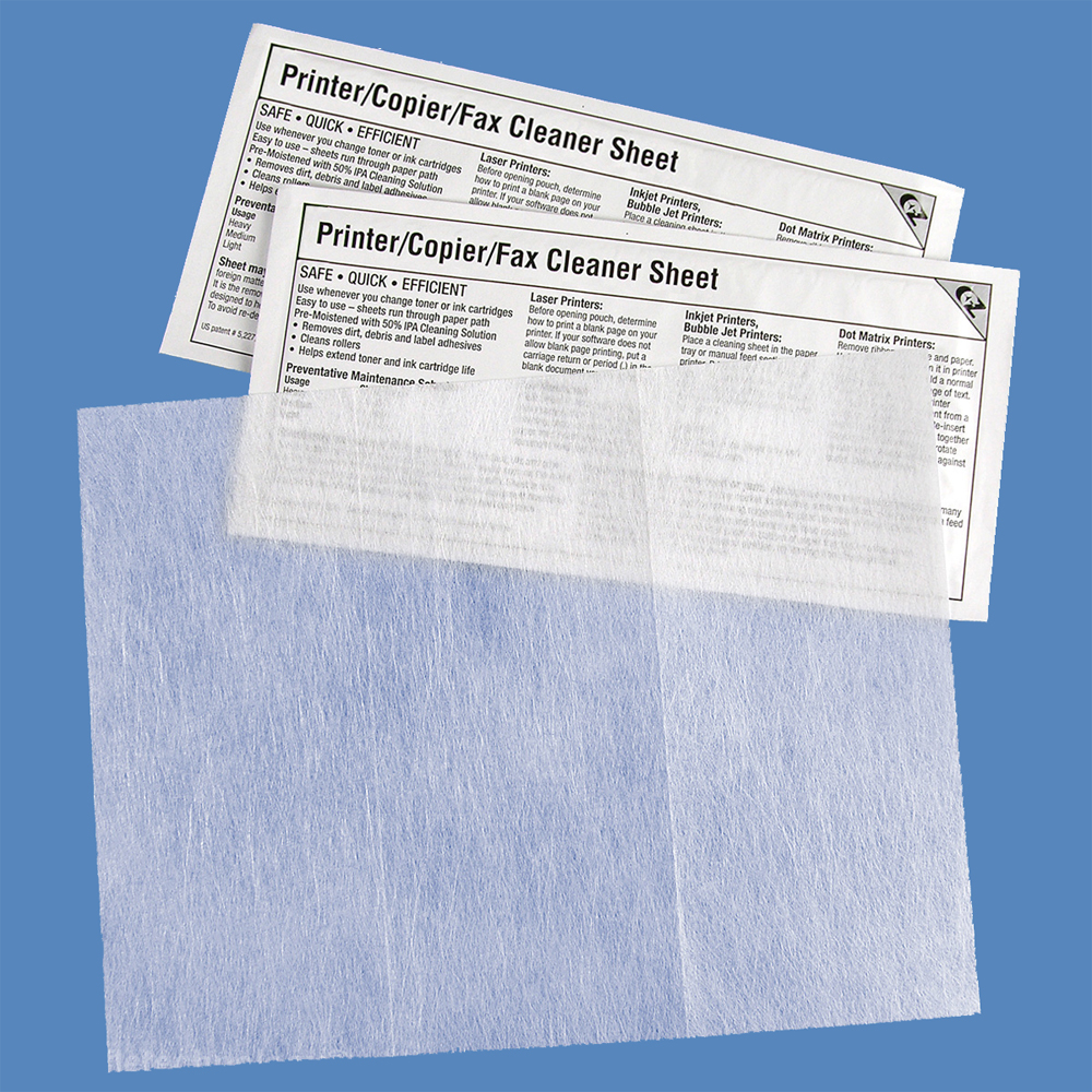 "EZ Printer/Copier/Fax Cleaning Sheet, 8.5"" x 11"", K2-PCFB15 (15 Sheets)"