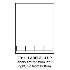 """2"""" x 1"""" Integrated Label Form Sheets, 4 Up (1,500 Sheets) - LASI-2-1-4"""