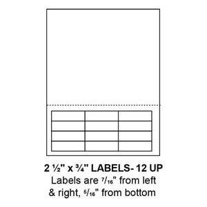 """2.5"""" x 0.75"""" Integrated Label Form Sheets, 12 Up (1,500 Sheets) - LASI-25-075-12"""