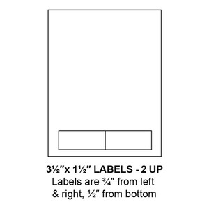 """3.5"""" x 1.5"""" Integrated Label Form Sheets, 2 Up (1,500 Sheets) - LASI-35-15-2"""