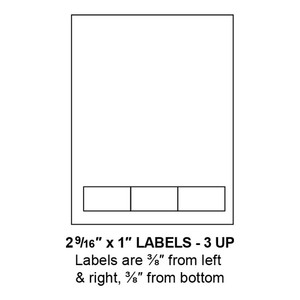 """2.5625"""" x 1"""" Integrated Label Form Sheets, 3 Up (1,500 Sheets) - LASI-25625-1-3"""