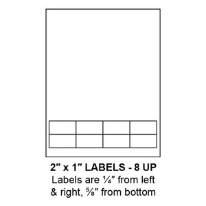 """2"""" x 1"""" Integrated Label Form Sheets, 8 Up (1,500 Sheets) - LASI-2-1-8"""
